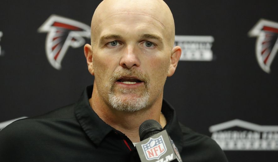 This Sept. 24, 2017 photo shows Atlanta Falcons head coach Dan Quinn addressing the media after an NFL football game against the Detroit Lions in Detroit. Quinn had Julio Jones and Vic Beasley back on the practice field as Atlanta returned from its bye week. Ryan Schraeder and Ricardo Allen have returned from concussions, giving the Falcons four starters looking ready to play this week against Miami. (AP Photo/Rick Osentoski)