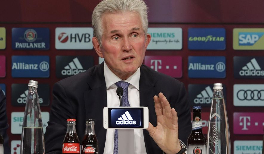 Bayern Munich's new coach Jupp Heynckes gestures during his presentation at a news conference in Munich, Germany, Monday, Oct. 9, 2017. Heynckes coached the Bundesliga team already from 1987 to 1991, 2009 and from 2011 to 2013. (AP Photo/Matthias Schrader)