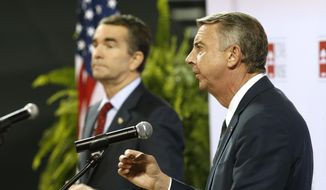 Republican gubernatorial candidate Ed Gillespie (right) faced off with Democratic challenger Ralph Northam in a debate Monday at the University of Virginia-Wise. (Associated Press)