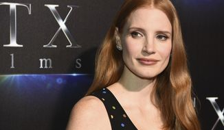 FILE - In this Tuesday, March 28, 2017, file photo, Jessica Chastain attends the STX Films The State of the Industry: Past, Present and Future presentation during CinemaCon at The Colosseum at Caesars Palace on in Las Vegas. Chastain is among the stars weighing in on the firing of movie mogul Harvey Weinstein from the company he co-founded. The move came after decades of sex harassment allegations against the producer were revealed in a New York Times report. Chastain is calling on men to be more vocal in condemning the producer. (Photo by Al Powers/Powers Imagery/Invision/AP, File)