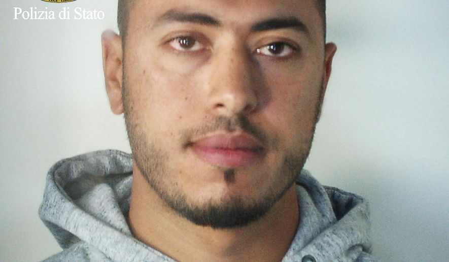 A man identified by police as Anis Hanachi, the brother of a Tunisian man who stabbed to death two women in the French city of Marseille earlier this month, is seen in this photo provided Monday, Oct. 9, 2017 by the Italian Police. Police in the northern city of Ferrara said Monday that the suspect, Hanachi, was arrested over the weekend on an international warrant issued by French authorities accusing him of involvement in the attack and of international terrorism. (Italian Police via AP)