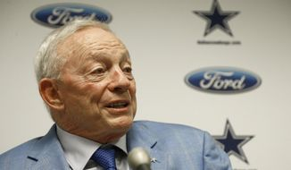 In this Sept. 25, 2017, file photo, Dallas Cowboys owner Jerry Jones speaks after an NFL football game against the Arizona Cardinals, in Glendale, Ariz. Dallas owner Jerry Jones said the NFL can't leave the impression that it tolerates players disrespecting the flag and that any of his Cowboys making such displays won't play. (AP Photo/Ross D. Franklin, File)