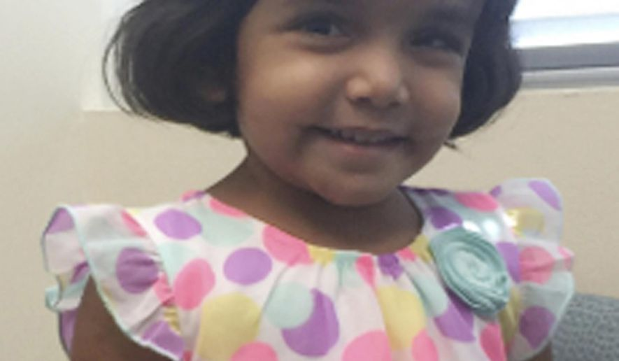 This undated photo provided by the Richardson Texas Police Department shows 3-year-old Sherin Mathews. Authorities are searching for the girl who went missing over the weekend when her father allegedly made her stand outside in the middle of the night as punishment for not drinking her milk. Wesley Mathews ordered Sherin Mathews to stand next to a tree behind the fence at their Richardson home at around 3 a.m. Saturday, Oct. 7, 2017, according to an arrest affidavit. (Richardson Texas Police Department via AP)