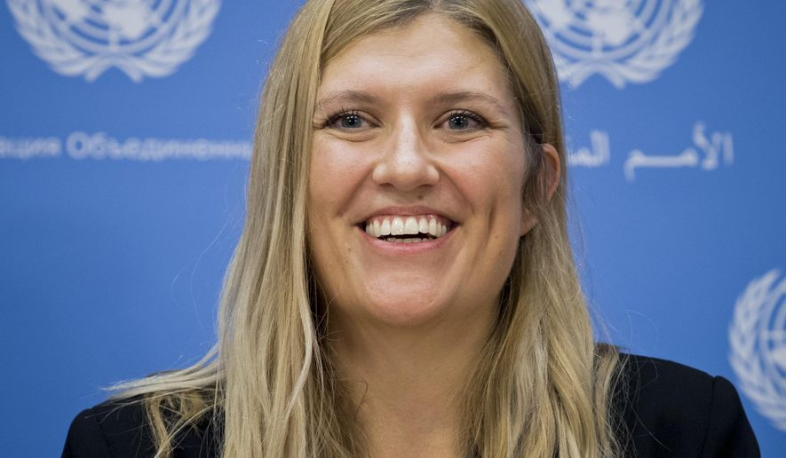 Beatrice Fihn, executive director of the International Campaign to Abolish Nuclear Weapons (ICAN), speaks during a press conference, Monday Oct. 9, 2017 at United Nations headquarters. ICAN, a coalition of non-government organizations in one hundred countries advocating a nuclear weapon ban treaty, is the 2017 winner of the Nobel Peace Prize. (Eskinder Debebe/United Nations via AP)