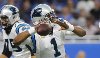 Carolina Panthers quarterback Cam Newton throws during the first half of an NFL football game against the Detroit Lions, Sunday, Oct. 8, 2017, in Detroit. (AP Photo/Paul Sancya)