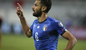 Italy's Antonio Candreva celebrates after scoring the opening goal of his team during the World Cup Group G qualifying soccer match between Albania and Italy at Loro Borici stadium, in Shkoder, northern Albania, Monday, Oct. 9, 2017. Italy won 1-0.(AP Photo/Hektor Pustina)