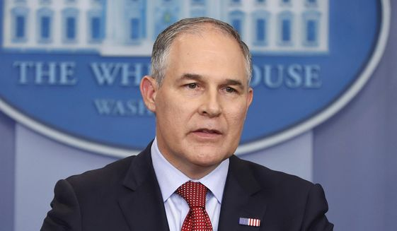 EPA Administrator Scott Pruitt speaks in the Brady Press Briefing Room of the White House in Washington, in this June 2, 2017, file photo. (AP Photo/Pablo Martinez Monsivais, File)