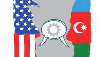 Illustration emphasizing U.S./ Azerbaijani cooperation by Linas Garsys/The Washington Times