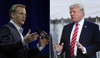 FILE - At left, in a Feb. 1, 2017, file photo, NFL Commissioner Roger Goodell answers questions during a news conference for the Super Bowl 51 football game, in Houston. At right, in an Oct. 7, 2017, file photo, President Donald Trump speaks to reporters at the White House in Washington. NFL owners will meet next week to consider changes to a game manual that says players should stand during the national anthem, a guideline that the league has left to the discretion of players who kneeled in larger numbers after criticism from President Donald Trump. Commissioner Roger Goodell told club executives Tuesday, Oct. 10, 2017, in a memo obtained by The Associated Press that the anthem issue is dividing the league from its fans. He said the NFL needs to move past this controversy. (AP Photo/File)