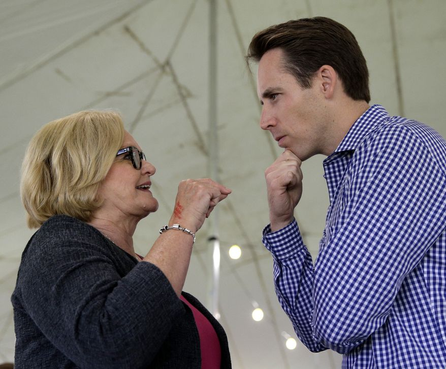 """Josh Hawley, a Republican who is challenging Sen. Claire McCaskill in Missouri, said, """"I do think the debacle with Justice Kavanaugh, what the Senate Democrats did in that case, is hugely motivating to Missouri voters."""" McCaskill supporters agree that the Kavanaugh confirmation energized them, but many were already highly motivated to vote for the Democrat. (Associated Press/File)"""
