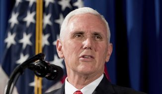 In this April 17, 2017, file photo, Vice President Mike Pence speaks at the Department of Veterans Affairs in Washington. (AP Photo/Andrew Harnik, File)