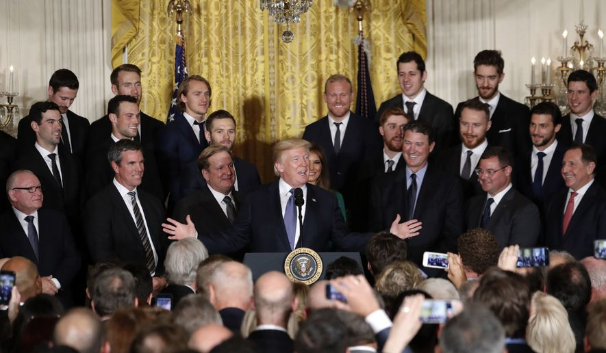 President Donald Trump speaks during a ceremony to honor the 2017 NHL Stanley Cup Champion Pittsburgh Penguins, Tuesday Oct. 10, 2017, in the East Room of the White House in Washington. (AP Photo/Pablo Martinez Monsivais)