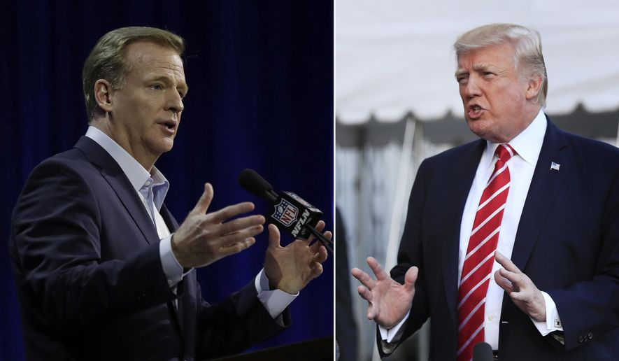NFL Commissioner Roger Goodell sent a memo to team presidents saying the league needs to move past the controversy over national anthem protests. President Trump had taken issue with billions of taxpayer dollars that have subsidized the construction of professional sports stadiums. (Associated Press)