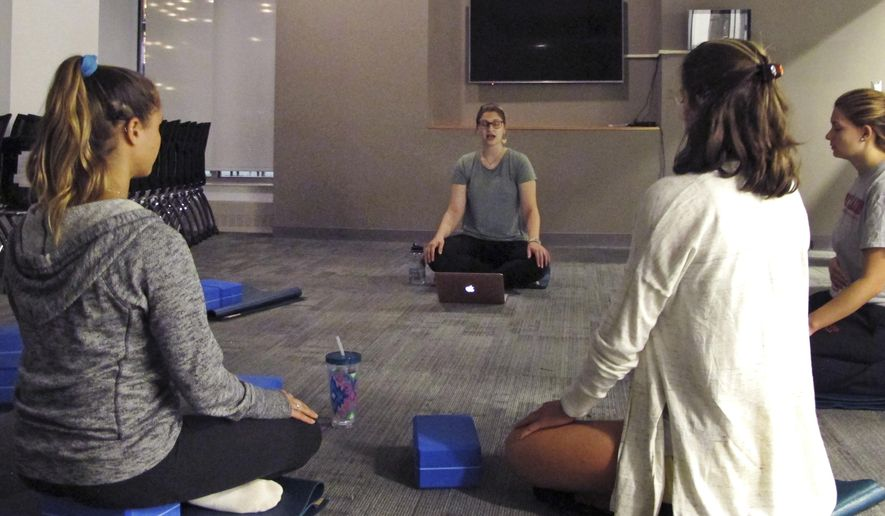 In this Sept. 12, 2017 photograph, students at the University of Vermont in Burlington, Vt., take a meditation class in a new Wellness Environment dormitory. The university has opened a dorm that goes beyond mere bans on drugs and alcohol to promote overall healthy lifestyles. Students meditate, practice yoga, eat well and make other healthy choices in the Wellness Environment. (AP Photo/Lisa Rathke)