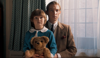 """Domhnall Gleeson and Will Tilston in a scene from """"Goodbye, Christopher Robin.""""  (Collider)"""