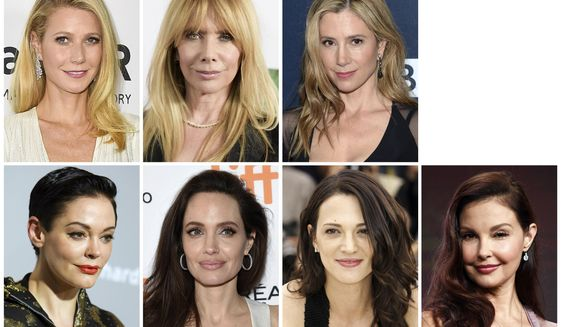 This combination photo shows actresses, top row from left, Gwyneth Paltrow, Rosanna Arquette, Mira Sorvino and bottom row from left, Rose McGowan, Angelina Jolie Pitt, Asia Argento and Ashley Judd, who are among the many women who have spoken out against Harvey Weinstein in on-the-record reports that detailed claims of sexual abuse. (AP Photo/File)