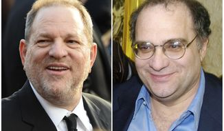 "This combination photo shows Harvey Weinstein arrives at the Oscars in Los Angeles on Feb. 28, 2016, left, and his brother Bob Weinstein at the premiere of ""Sin City,"" in Los Angeles on March 28, 2005. Harvey Weinstein was fired Sunday by the Weinstein Co., the studio he co-founded with his brother Bob, after a bombshell New York Times expose alleged decades of crude sexual behavior on his part toward female employees and actresses. (AP Photo/File)"
