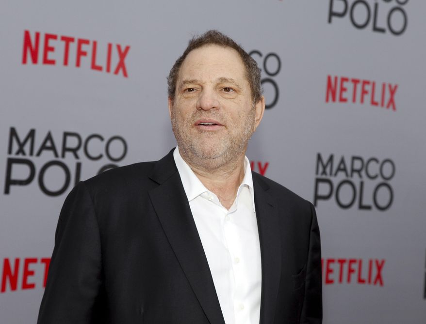"In this Dec. 2, 2014, Harvey Weinstein attends the season premiere of the Netflix series ""Marco Polo"" in New York. Weinstein faces multiple allegations of sexual abuse and harassment from some of the biggest names in Hollywood. (Photo by Andy Kropa/Invision/AP, File)"