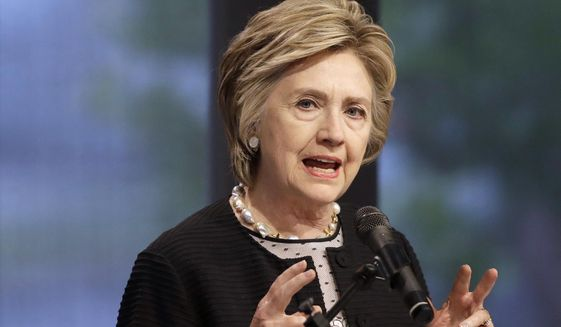 "In this June 5, 2017, file photo, former Secretary of State Hillary Clinton speaks in Baltimore. Clinton says she's ""shocked and appalled"" by the revelations of sexual abuse and harassment being leveled at Harvey Weinstein. She says in a written statement on Oct. 10, that the behavior being reported by women ""cannot be tolerated."" (AP Photo/Patrick Semansky, File)"