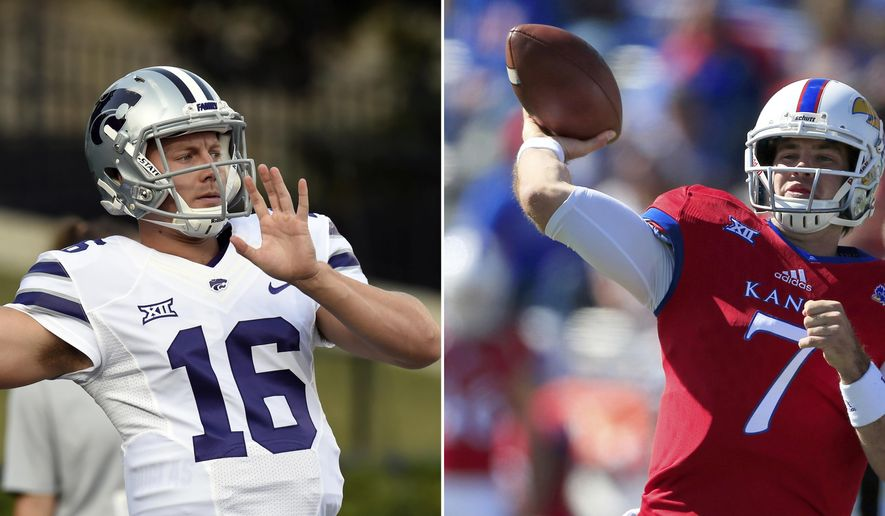 FILe - At left, in a Sept. 16, 2017, file photo, Kansas State quarterback Jesse Ertz warms up for the team's NCAA college football game against Vanderbilt, in Nashville, Tenn.At right, in an oct. 7, 2017, file photo, Kansas quarterback Peyton Bender throws a touchdown pass during the first half of an NCAA college football game against Texas Tech, in Lawrence, Kan. At Kansas, the culprit is ineffectiveness. Down the road at Kansas State, the problem is health. Either way, the two Power 5 schools in the Sunflower State are in the meat of the Big 12 schedule with massive quarterback concerns.  (AP Photo/File)