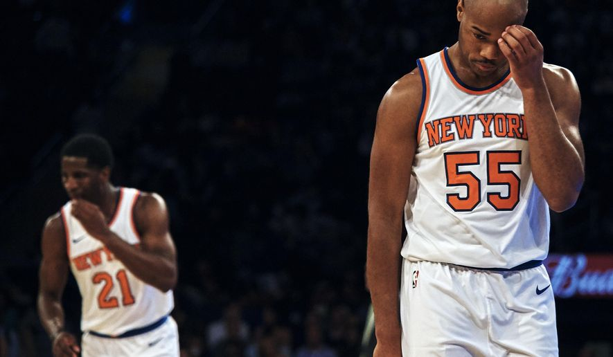 New York Knicks Jarrett Jack, right, reacts during the second half of a preseason NBA basketball game against Houston Rockets at Madison Square Garden in New York, Monday, Oct. 9, 2017. (AP Photo/Andres Kudacki)