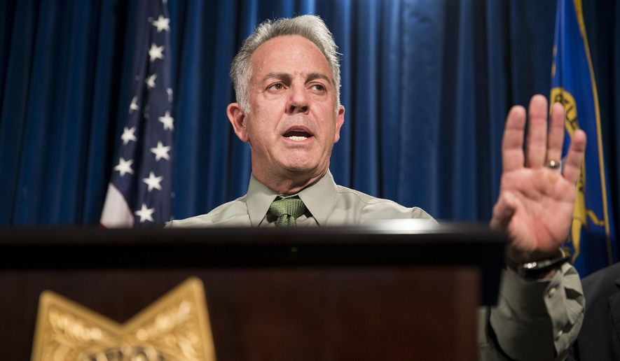 Clark County Sheriff Joe Lombardo discusses the Route 91 Harvest festival mass shooting at the Las Vegas Metropolitan Police Department headquarters in Las Vegas, Monday, Oct. 9, 2017. Law enforcement authorities on Monday made a significant change to the timeline of the mass shooting, saying the gunman shot a hotel security guard before he opened fire on concertgoers. (Erik Verduzco/Las Vegas Review-Journal via AP)