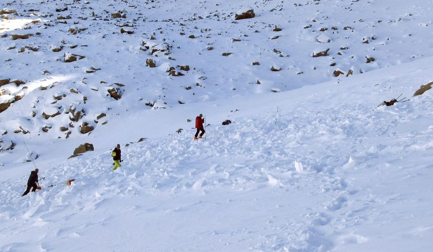 In this Monday, Oct. 9, 2017, photo provided by the The Gallatin National Forest Avalanche Center, searchers probe the lower portion of an avalanche debris field for a missing skier on Imp Peak in the southern Madison Range in southwestern Montana. A woman's body was recovered after two skiers triggered the weekend avalanche that fully buried the woman and partially buried a man. (The Gallatin National Forest Avalanche Center via AP)