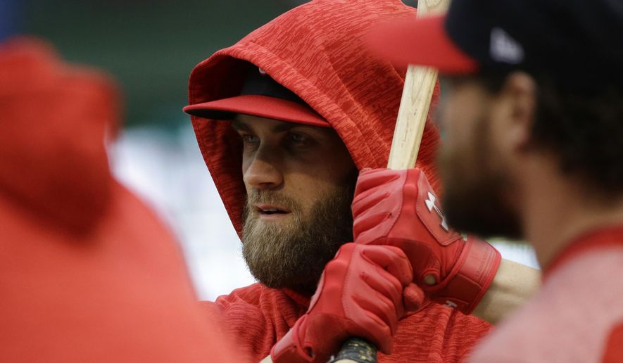 Washington Nationals' Bryce Harper takes batting practice before Game 4 of baseball's National League Division Series against the Chicago Cubs, Tuesday, Oct. 10, 2017, in Chicago. (AP Photo/Nam Y. Huh)