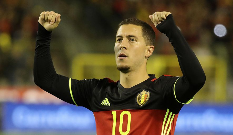 Belgium's Eden Hazard celebrates after he scored a penalty during the World Cup 2018 Group H qualifying soccer match between Belgium and Cyprus at the King Baudouin Stadium in Brussels, Belgium, Tuesday, Oct. 10, 2017. (AP Photo/Olivier Matthys)
