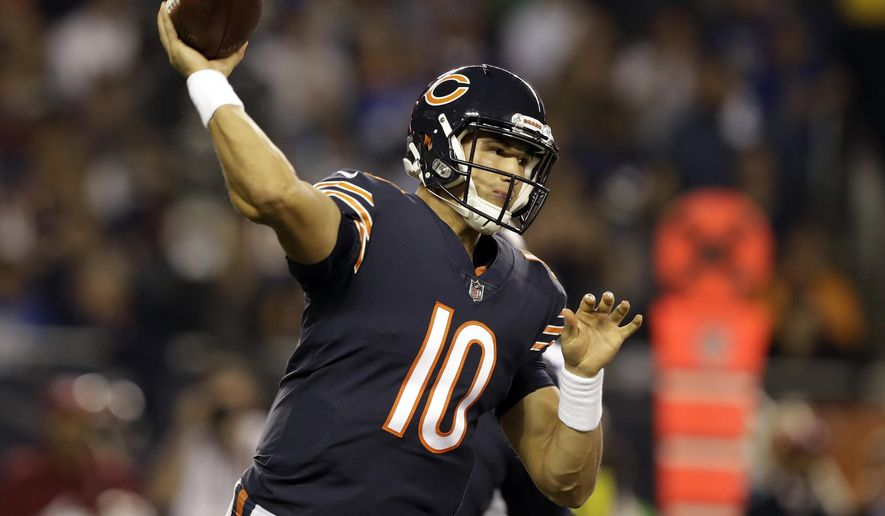 Chicago Bears quarterback Mitchell Trubisky (10) throws a pass during the first half of an NFL football game against the Minnesota Vikings, Monday, Oct. 9, 2017, in Chicago. (AP Photo/Darron Cummings)