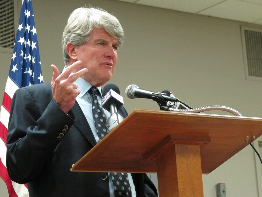 Retired attorney and former Wisconsin Democratic Party chairman Matt Flynn launches his candidacy for governor on Tuesday, Oct. 10, 2017, in Madison, Wis. (AP Photo/Scott Bauer)