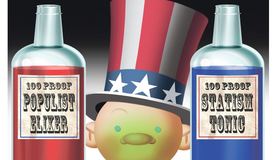 Illustration on two contending American political forces by Alexander Hunter/The Washington Times