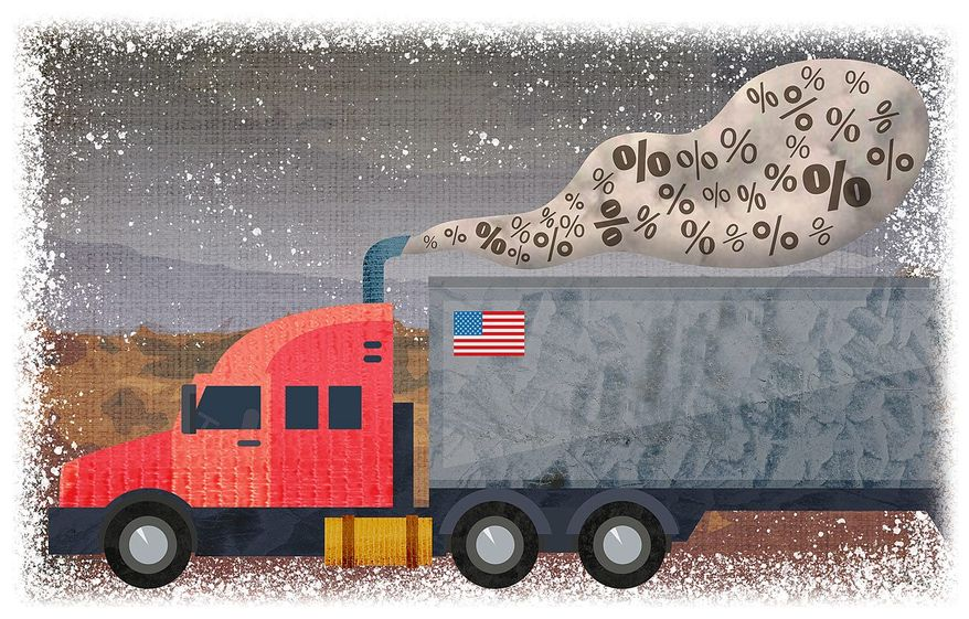 Illustration on tax reform and trucking by Greg Groesch/The Washington Times
