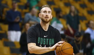 Boston Celtics' Gordon Hayward before their preseason NBA basketball game against the Philadelphia 76ers in Boston Monday, Oct. 9, 2017. (AP Photo/Winslow Townson) **FILE**