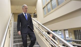 Sen. Bob Casey (D) leaves Moses Taylor Hospital after holding a meeting about the Children's Health Insurance Program (CHIP) in Scranton, Pa., on Wednesday, Oct. 11, 2017. (Jake Danna Stevens/The Times & Tribune via AP) ** FILE **
