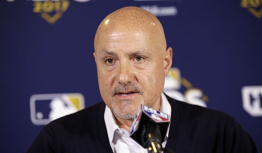 Washington Nationals general manager Mike Rizzo speaks during a news conference before Game 4 of baseball's National League Division Series against the Chicago Cubs, Wednesday, Oct. 11, 2017, in Chicago. (AP Photo/Nam Y. Huh)