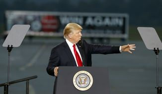 President Donald Trump speaks about tax reform during an event at the Harrisburg International Airport, Wednesday, Oct. 11, 2017, in Middletown, Pa. (AP Photo/Alex Brandon)