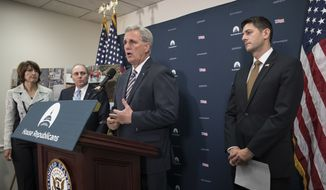 Majority Leader Kevin McCarthy, R-Calif., center, talks about the wildfires in California as he is joined by, from left, Rep. Cathy McMorris Rodgers, R-Wash., House Majority Whip Steve Scalise, R-La., and Speaker of the House Paul Ryan, R-Wis., at a news conference at the Capitol in Washington, Wednesday, Oct. 11, 2017. (AP Photo/J. Scott Applewhite)
