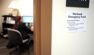 In an Oct. 5, 2017 photo, a sign informing students of Warhawk Emergency Fund caseworker hours is on display outside the program office at UW-Whitewater. UW-Whitewater aims to keep low-income students in school despite emergencies.  (Angela Major/The Janesville Gazette via AP)
