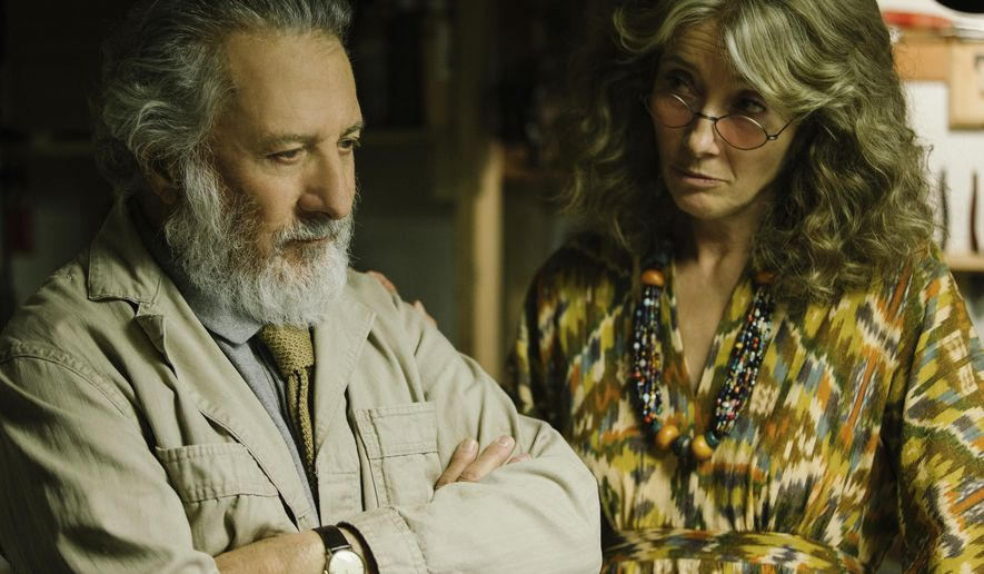 "This image released by Netflix shows Dustin Hoffman, left, and Emma Thompson in a scene from ""The Meyerowitz Stories."" (Atsushi Nishijima/Netflix via AP)"