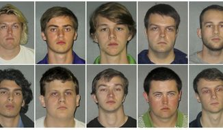 This combination of undated images shows from top row left to right: Sean Paul Gott, Ryan Isto, Sean Pennison, Elliot Eaton, Nicholas Taulli, and bottom row from left to right, Zachary Castillo, Hudson Kirkpatrick, Zachary Hall, Patrick Forde, and Matthew Naquin. The ten members of the Phi Delta Theta fraternity were arrested Wednesday, Oct. 11, 2017,  on hazing charges in the death of Maxwell Gruver, a Louisiana State University fraternity pledge whose blood-alcohol content level was more than six times the legal limit for driving, officials said.   Naquin also faces a negligent homicide charge. (East Baton Rouge Parish Sheriff's Office via AP)