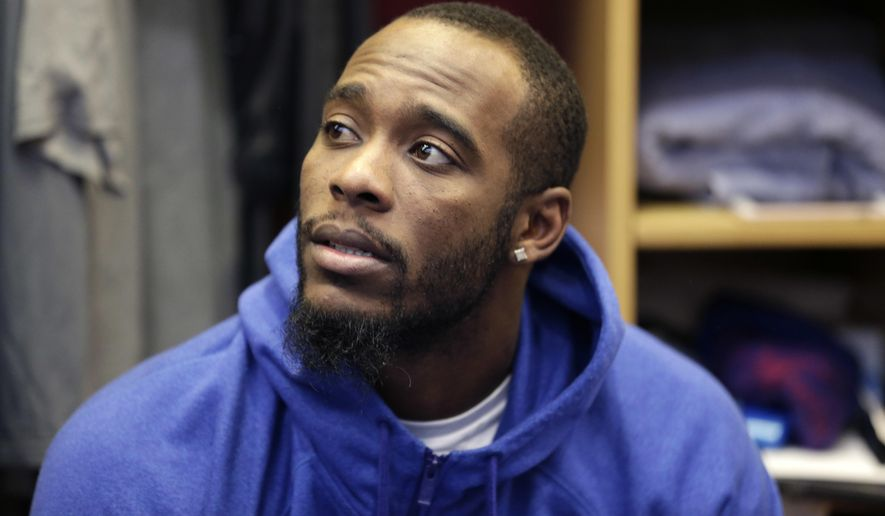 FILE - In this Jan. 5, 2017, file photo, New York Giants Dominique Rodgers-Cromartie talks to reporters in the locker room after NFL football practice in East Rutherford, N.J.  The Giants have suspended Rodgers-Cromartie, coach Ben McAdoo said Wednesday, Oct. 11, 2017. after practice without giving a reason. He said he had a meeting with 31-year-old on Tuesday night and Rodgers-Cromartie left the team on Wednesday. (AP Photo/Seth Wenig, File) **FILE**
