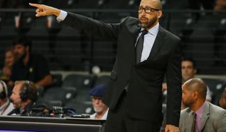 Memphis Grizzlies head coach David Fizdale reacts in the second half of an NBA preseason basketball game against the Atlanta Hawks on Monday, Oct. 9, 2017, in Atlanta. The Hawks won the game 99-88. (AP Photo/Todd Kirkland)