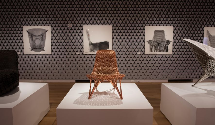 """This Sept. 28, 2017 photo provided by the Cooper Hewitt, Smithsonian Design Museum, shows an Installation view of """"Joris Laarman Lab: Design in the Digital Age,"""" in New York.  (Matt Flynn/Cooper Hewitt, Smithsonian Design Museum via AP)"""