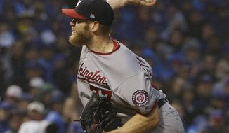 Washington Nationals starting pitcher Stephen Strasburg throws during the seventh inning of Game 4 of baseball's National League Division Series against the Chicago Cubs, Wednesday, Oct. 11, 2017, in Chicago. (AP Photo/Nam Y. Huh)
