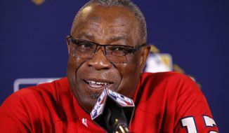 Washington Nationals manager Dusty Baker talks during a news conference before Game 4 of baseball's National League Division Series against the Chicago Cubs, Wednesday, Oct. 11, 2017, in Chicago. (AP Photo/Charles Rex Arbogast) ** FILE **