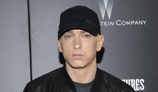 "In this July 20, 2015, file photo, Eminem attends the premiere of ""Southpaw"" in New York. Eminem has released a verbal tirade on President Donald Trump in a video that aired as part of the BET Hip Hop Awards on Oct. 10, 2017. (Photo by Evan Agostini/Invision/AP, File)"