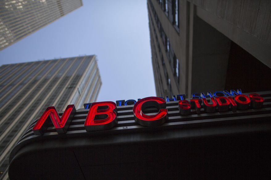 This Wednesday, May 10, 2017, file photo, shows the NBC logo at their television studios at Rockefeller Center in New York. (AP Photo/Mary Altaffer, File)