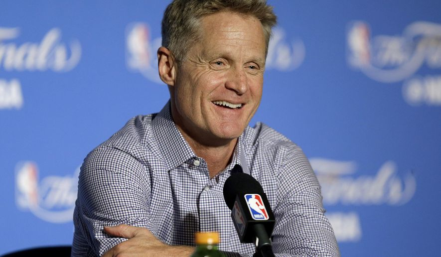 FILE - In this June 4, 2017, file photo, Golden State Warriors head coach Steve Kerr speaks at a news conference after Game 2 of basketball's NBA Finals against the Cleveland Cavaliers, in Oakland, Calif. Kerr recently threw out a perplexing question to his star-studded Golden State roster: What should he possibly tell a team that won two championships in three years and lost in the Finals the other?  (AP Photo/Ben Margot, File)