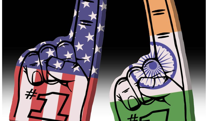 Illustration on the necessary nationalism of America and India by Alexander Hunter/The Washington Times